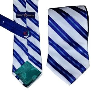 NWT TOMMY HILFIGER Silk White Blue Stripe Tie
